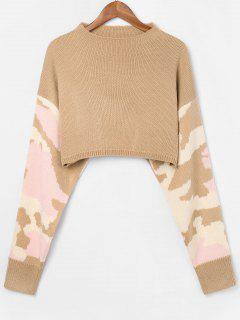 Boat Neck Camouflage Sweater - Tan L