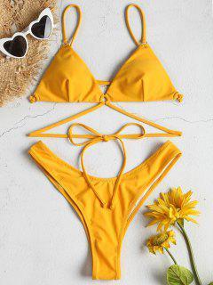 Hohes Bein Riemchen Bikini Set - Niedliches Gummi Gelb L