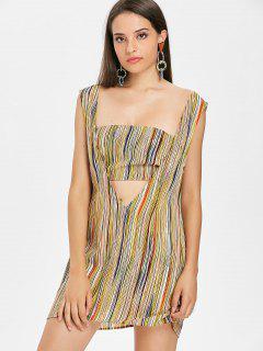 Stripes Bandeau Top Sleeveless Dress - Multi S