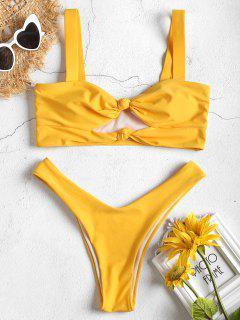Knoten Ausgeschnittenes Hohe Schlitz Bikini Set - Gelb L