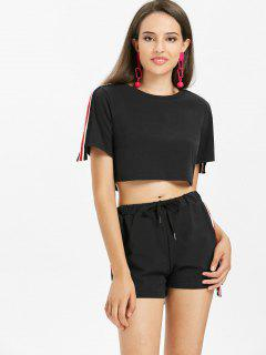 Stripes Patched Shorts Set - Black S