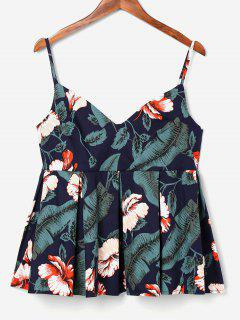 Empire Waist Leaves Cami Top - Beetle Green L