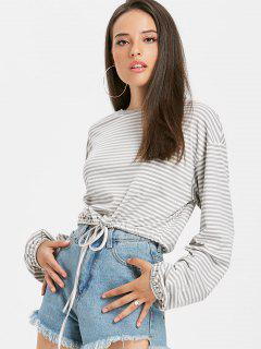 Drawstring Stripes Top - Light Gray M