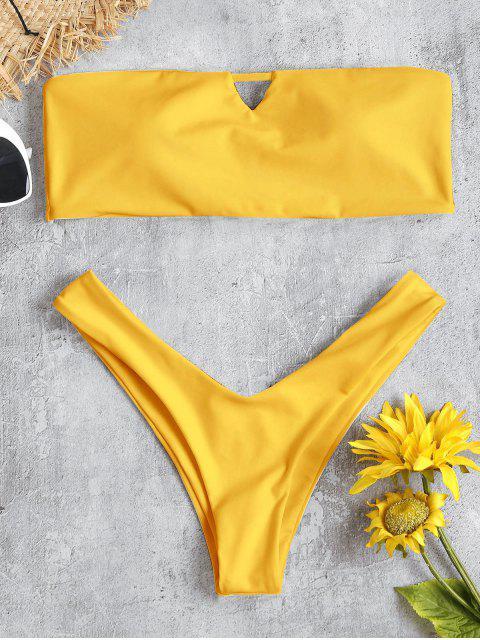 chic V-Cut Bandeau Thong Bikini Set - RUBBER DUCKY YELLOW L Mobile
