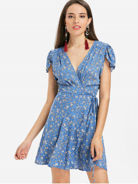 Blumen Cap Ärmeln Mini Wickel Tee Kleid - Blau M Mobile