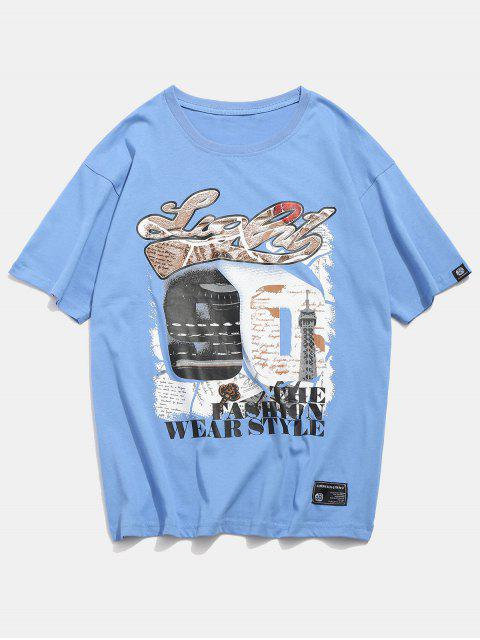 T-shirt Chiffre 90 Imprimé Graphique - Bleu Ciel Léger  L Mobile
