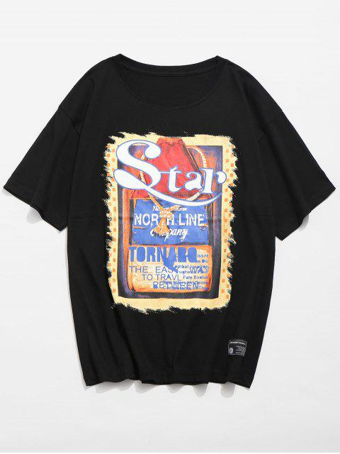 shop Graphic Poster Printed Patch T-shirt - BLACK L Mobile