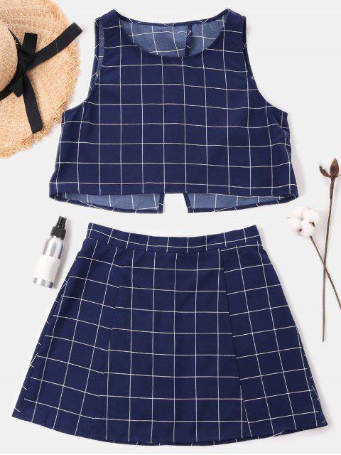 Conjunto falda a cuadros sin mangas - Azul de Medianoche M Mobile