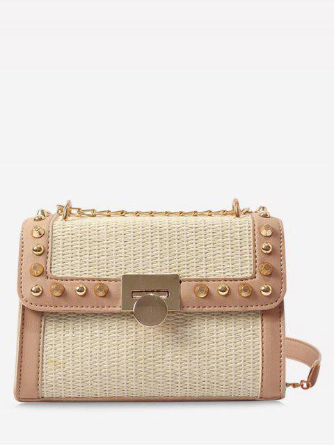 lady Flapped Straw Flap Chic Studs Crossbody Bag - LIGHT KHAKI  Mobile