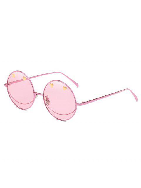Metall Herz dekorative Neuheit Runde Sonnenbrille - Schwein Rosa  Mobile