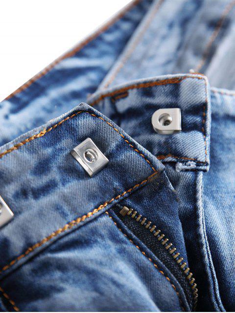 lady Hook Button Zipper Biker Jeans - DENIM DARK BLUE 36 Mobile