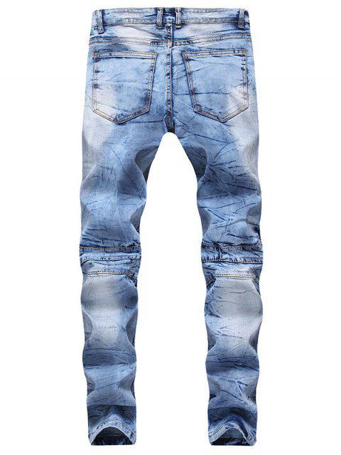 best Hook Button Zipper Biker Jeans - DENIM DARK BLUE 38 Mobile