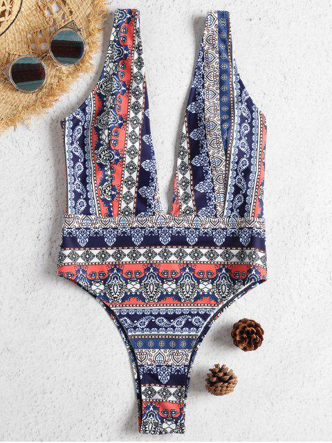 womens Multicolor High Leg Plunge Swimsuit - MULTI L Mobile