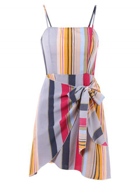 fashion Striped Self Tie Overlap Dress -   Mobile