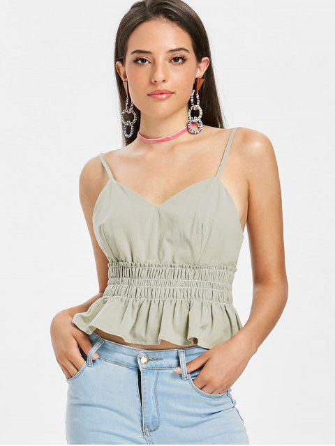 Smoked Frilled Cami Tank Top - Weise Grün L Mobile