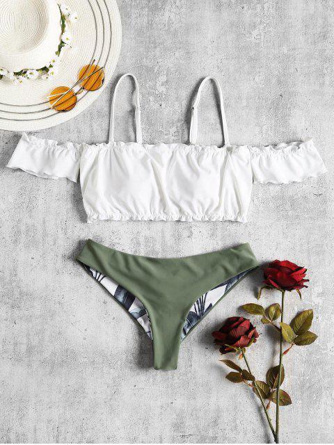 Bikini à Epaules Dénudées et Bordures à Volants - Blanc M Mobile