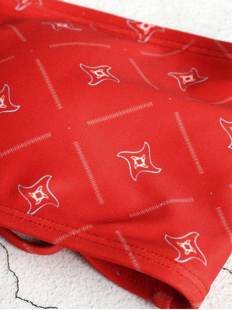 outfits Lace-up Choker Bandeau Bikini Set - CHERRY RED M Mobile