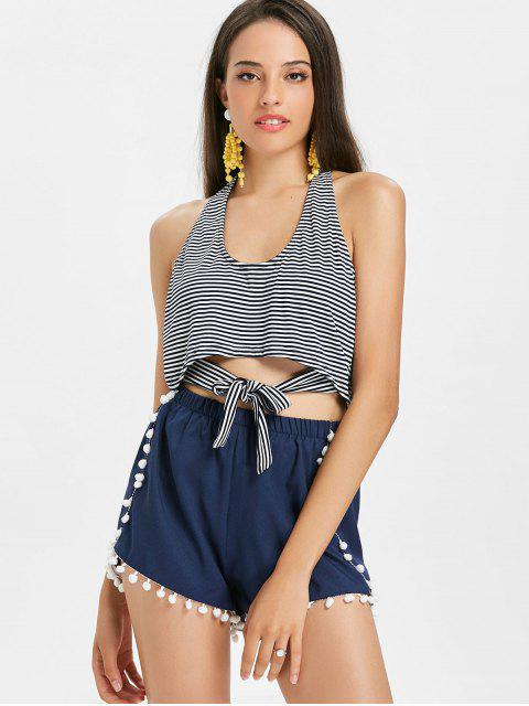 womens Stripes Knotted Tank Top - BLACK S Mobile