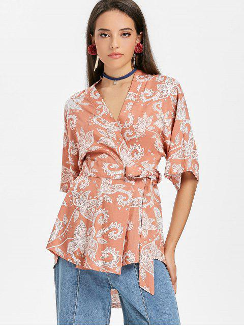 outfits Floral Wrap Kimono Blouse - BEAN RED S Mobile