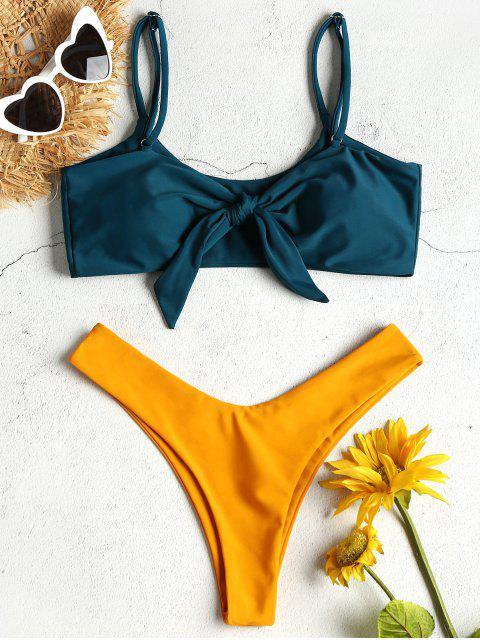 Zweifarbiger Knoten Cami Bikini - pfaublau  S Mobile