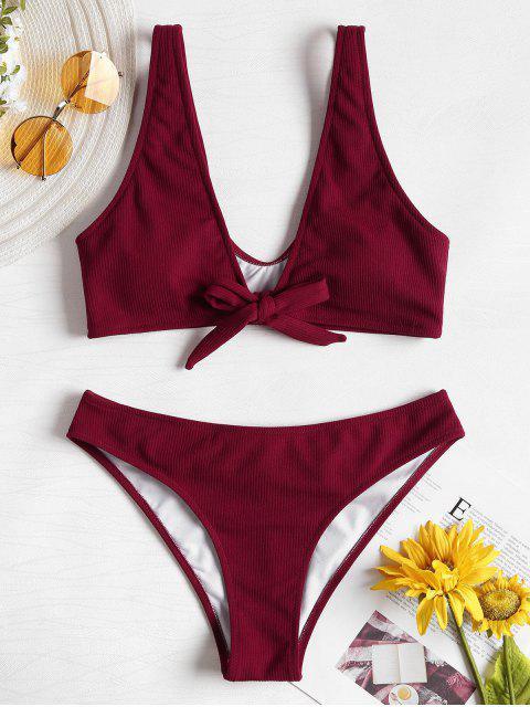 Bowtie Ribbed Scrunch Butt Bikini - Vino Tinto L Mobile