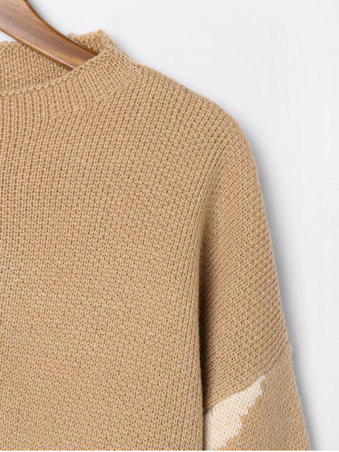 lady Boat Neck Camouflage Sweater - TAN M Mobile