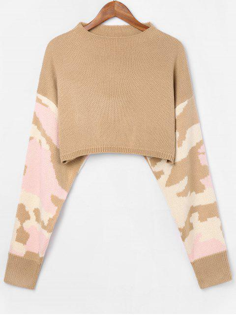Boot Hals Camouflage Pullover - Tan M Mobile