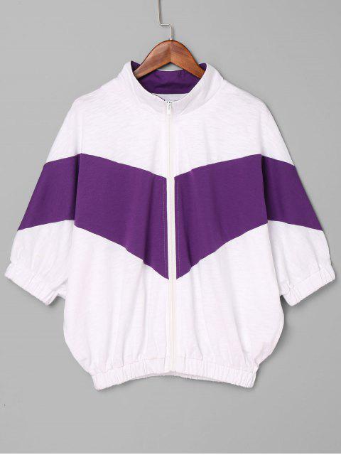 Contraste Zip Up Jacket - Púrpura L Mobile