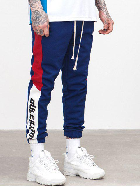 fashion Side Striped Letter Patchwork Jogger Pants - EARTH BLUE XL Mobile