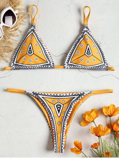 Ensemble de bikini string à imprimé géométrique ZAFUL - Jaune d'Abeille S Mobile