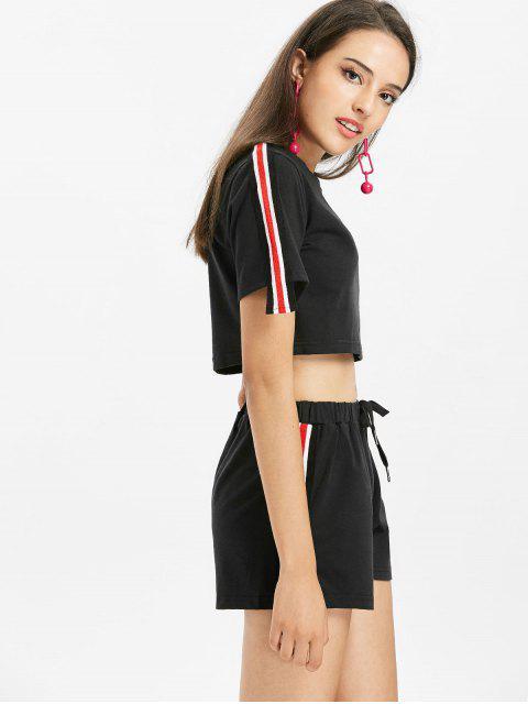 latest Stripes Patched Shorts Set - BLACK L Mobile