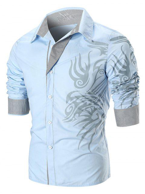 Dragon Print Streifen Panel T-Shirt - Himmelblau M Mobile