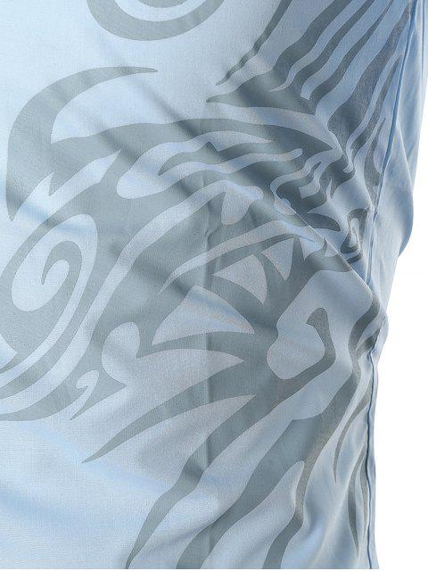 Dragon Print Streifen Panel T-Shirt - Himmelblau M Mobile