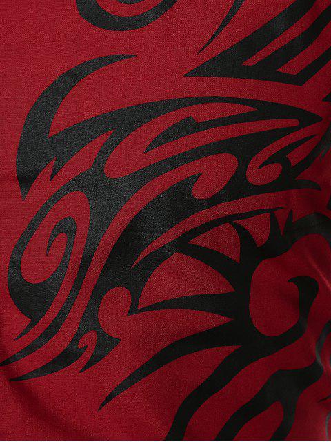 sale Dragon Print Stripe Panel Shirt - RED 3XL Mobile