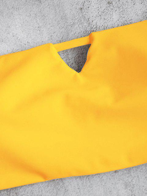 trendy V-Cut Bandeau Thong Bikini Set - RUBBER DUCKY YELLOW S Mobile