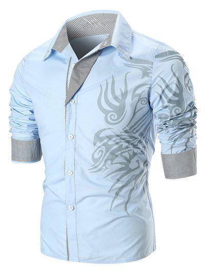 Dragon Print Stripe Panel Shirt - Sky Blue M