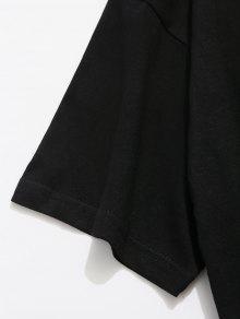 Letras M De Estampado Negro Traseras Camiseta Con qZHwypt