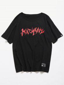 M Graffiti Streetwear Negro Tee Impreso Personalidad wTzSFZqUF
