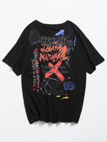 Streetwear Personalidad Negro Graffiti M Tee Impreso 4wvqz8