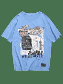 Estampado 225;fico Gr Con De Ligero M Camiseta Celeste 250;meros N 90 7qP5ttwF