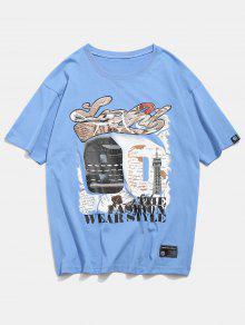 225;fico Gr De Ligero Camiseta Estampado M 90 Con N 250;meros Celeste qHtxwEI