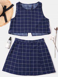 فحص مجموعة تنورة بلا أكمام - منتصف الليل الأزرق Xl