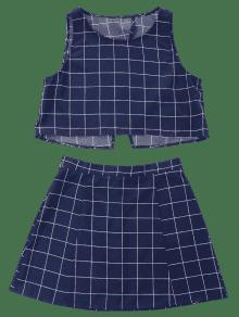 A Medianoche Azul Sin De Falda Xl Cuadros Mangas Conjunto C5qpRnFw5