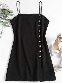 فستان قصير بأزرار كامي - أسود L