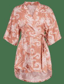 Frijol De Rojo Floral Blusa M Estampado Con Kimono zUTSTA