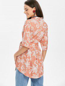 De Frijol Estampado Rojo Kimono Blusa Con M Floral qytYwxg1