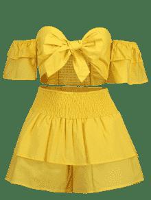 Ajustados M Con Shorts Top Brillante Y Tirantes Juego Delanteros Amarillo De F6Anqa