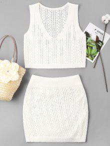 مجموعة العيينة محبوك تنورة - أبيض L