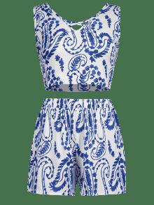 Multicolor Top A Conjunto S Juego Shorts Print Y Paisley 0w7np5qw