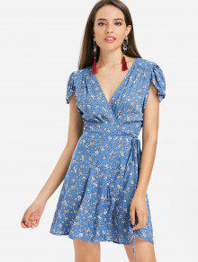 الأزهار كم كاب البسيطة التفاف اللباس الشاي - أزرق L